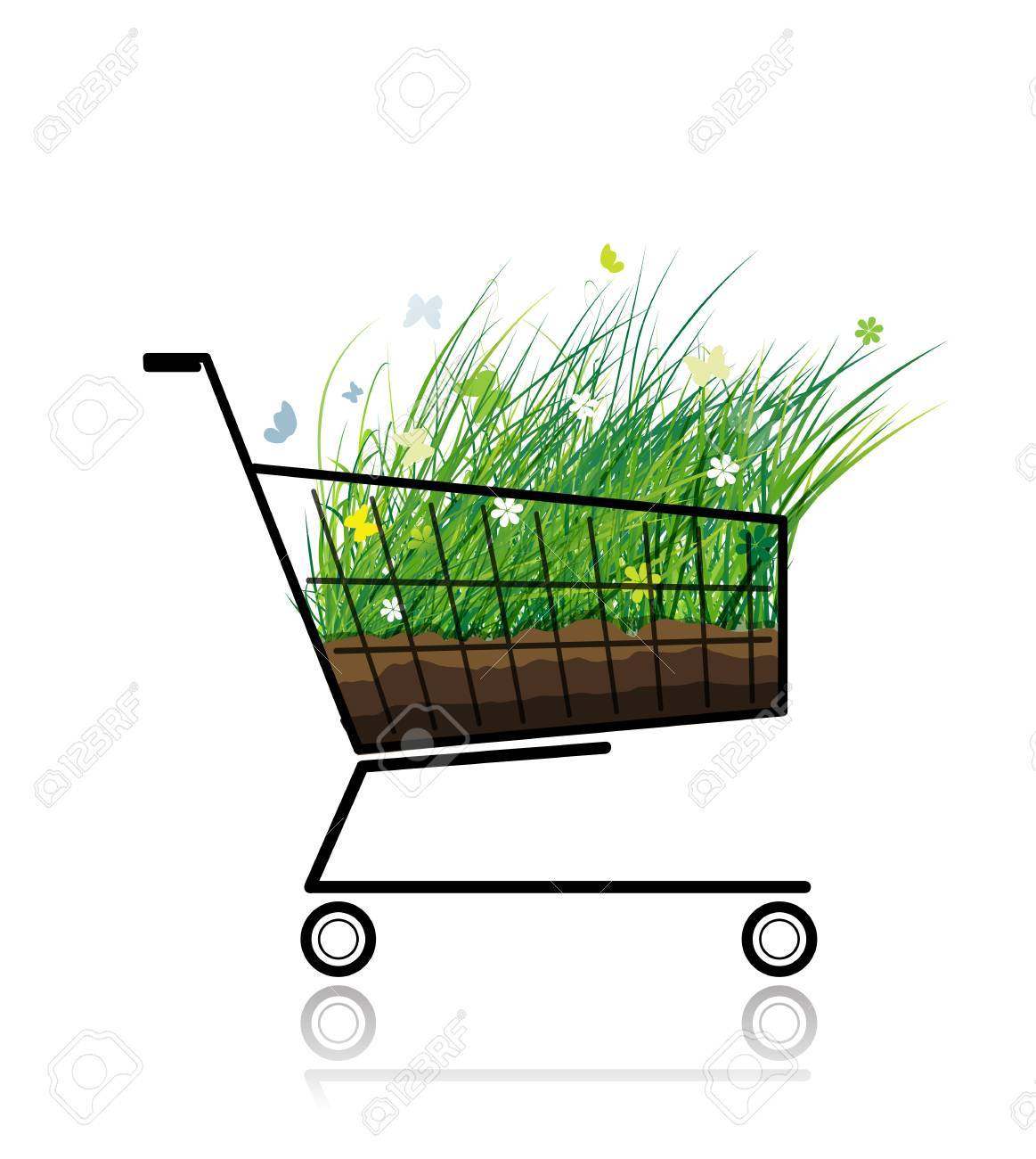 Spring grass in shopping cart for your design Stock Vector - 12840584