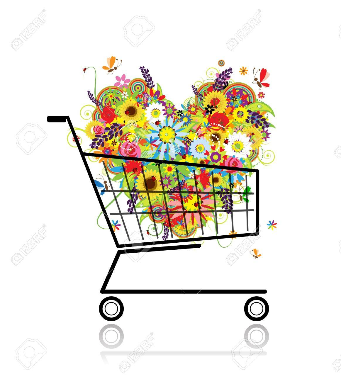 Floral heart in shopping cart for your design Stock Vector - 12840579