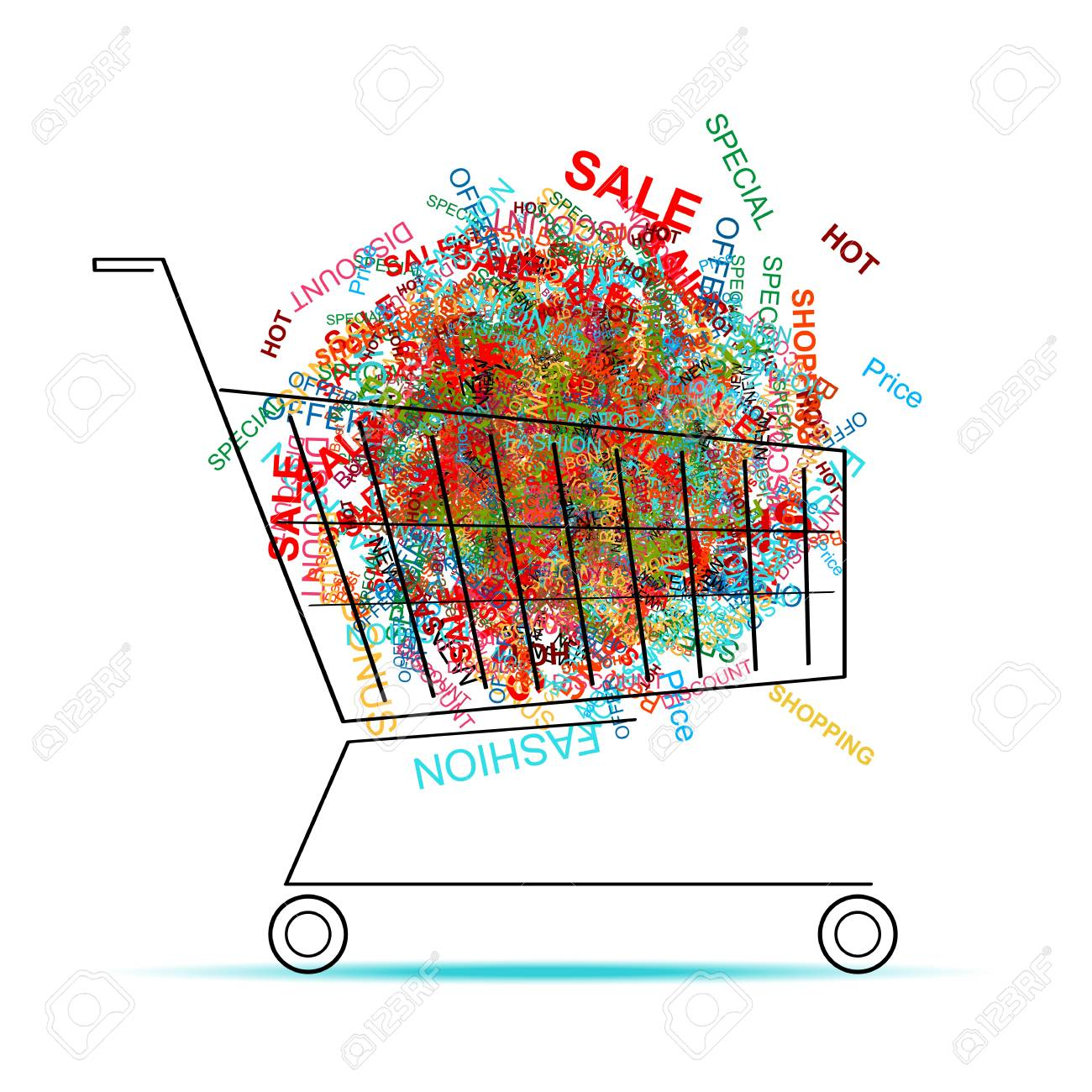 Shopping words in cart for your design Stock Vector - 12840587
