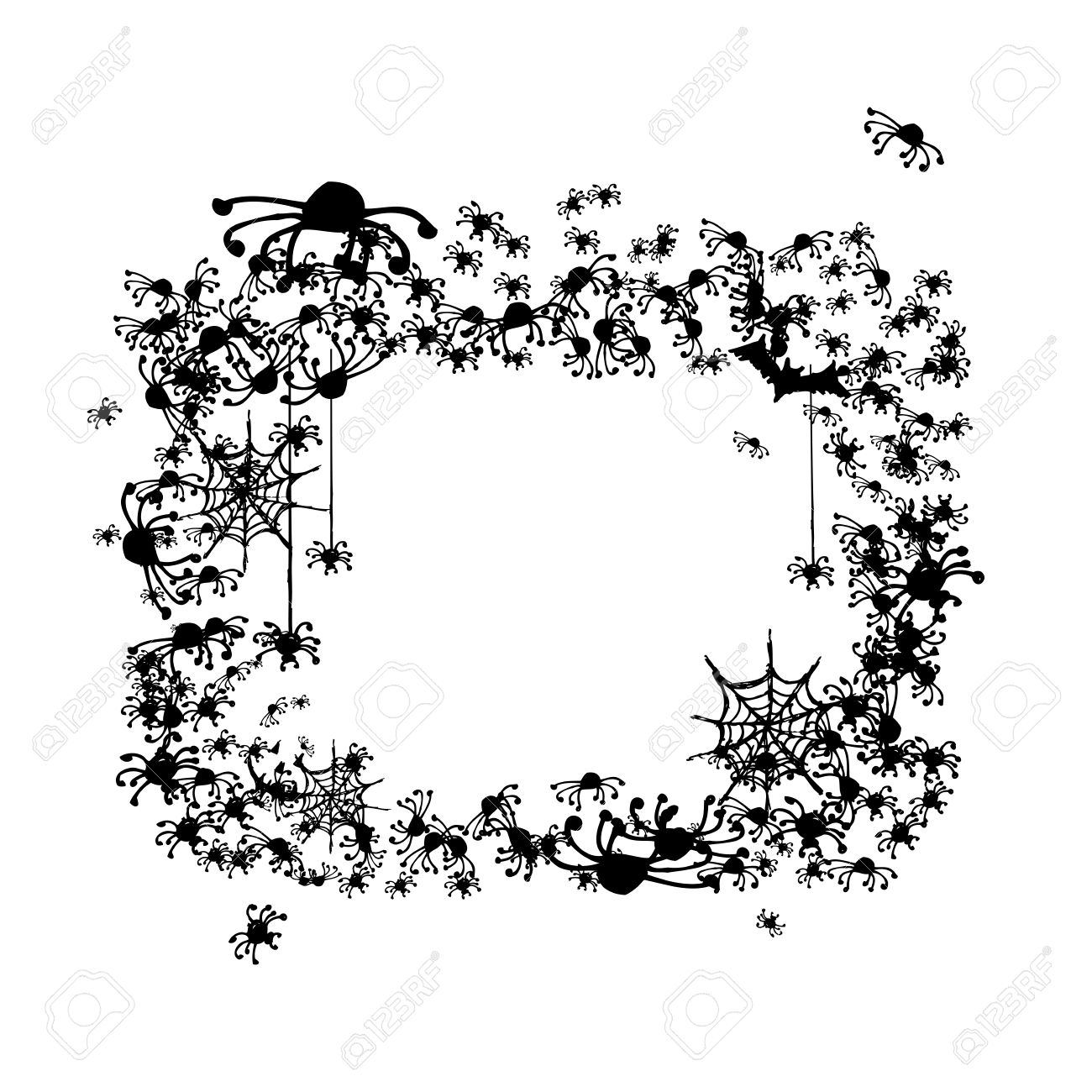 Halloween Frame Made From Spiders And Bats Royalty Free Cliparts ...
