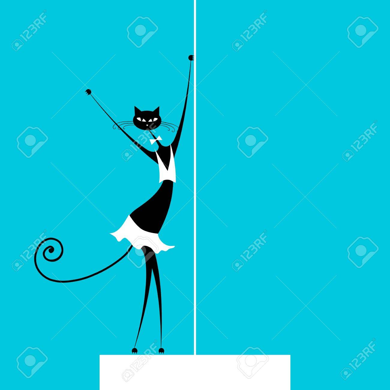 Graceful cat dancing, vector illustration for your design Stock Vector - 13404999