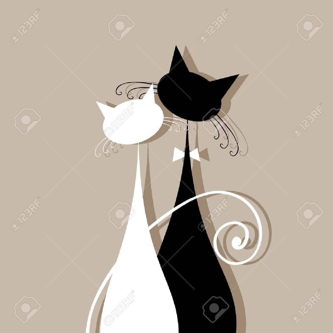 gatitos enamorados Gatos pareja juntos, silueta para su diseño
