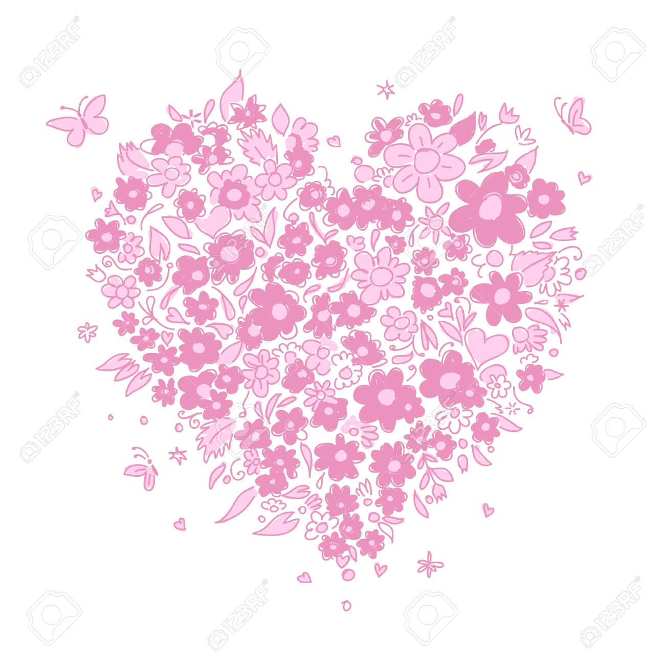 Sketch of floral heart shape for your design Stock Vector - 14417189