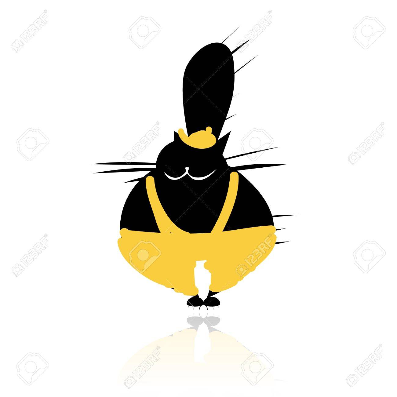 Funny black cat in fashion clothes for your design Stock Vector - 14946643