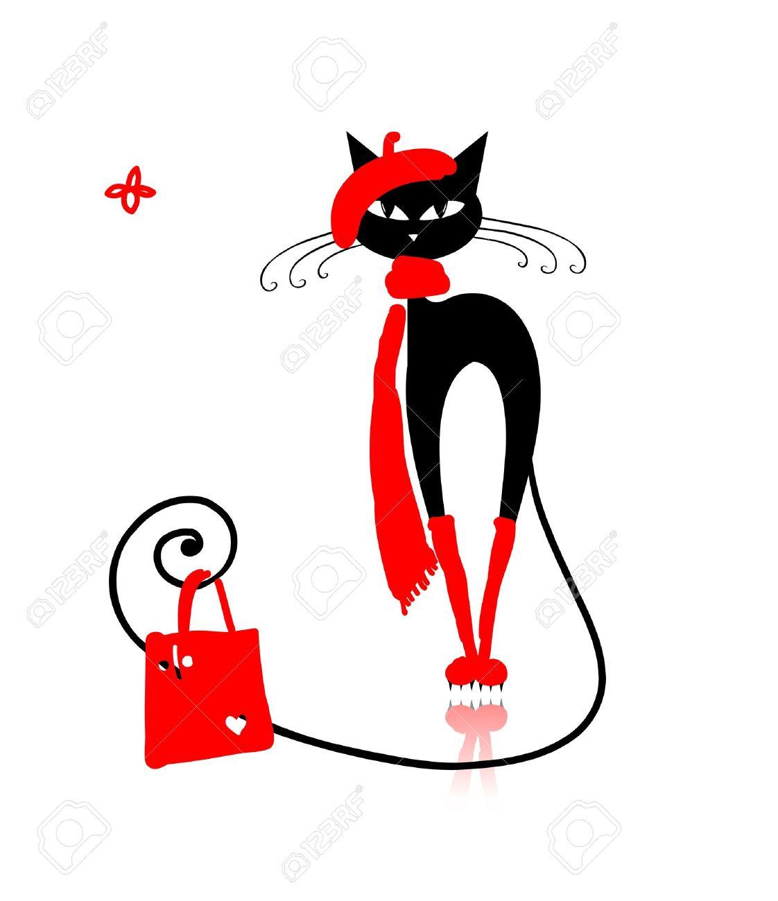 Gato negro en ropa de moda con el bolso de compras para su diseño Foto de archivo - 14946637