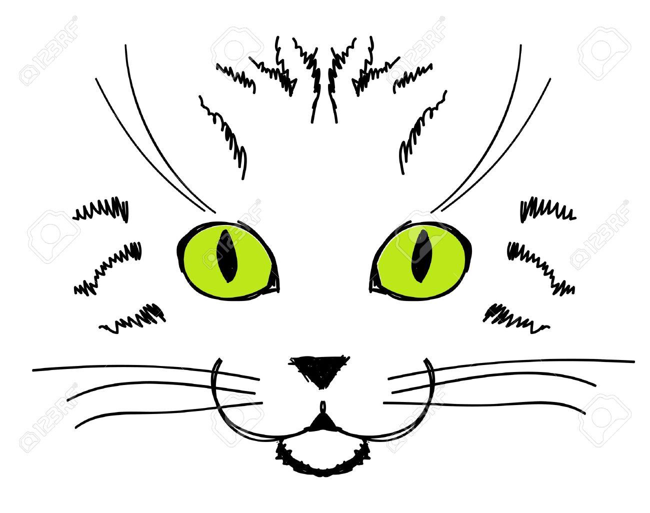Cara Linda Del Gato Dibujo A Mano Para Su Diseño Ilustraciones