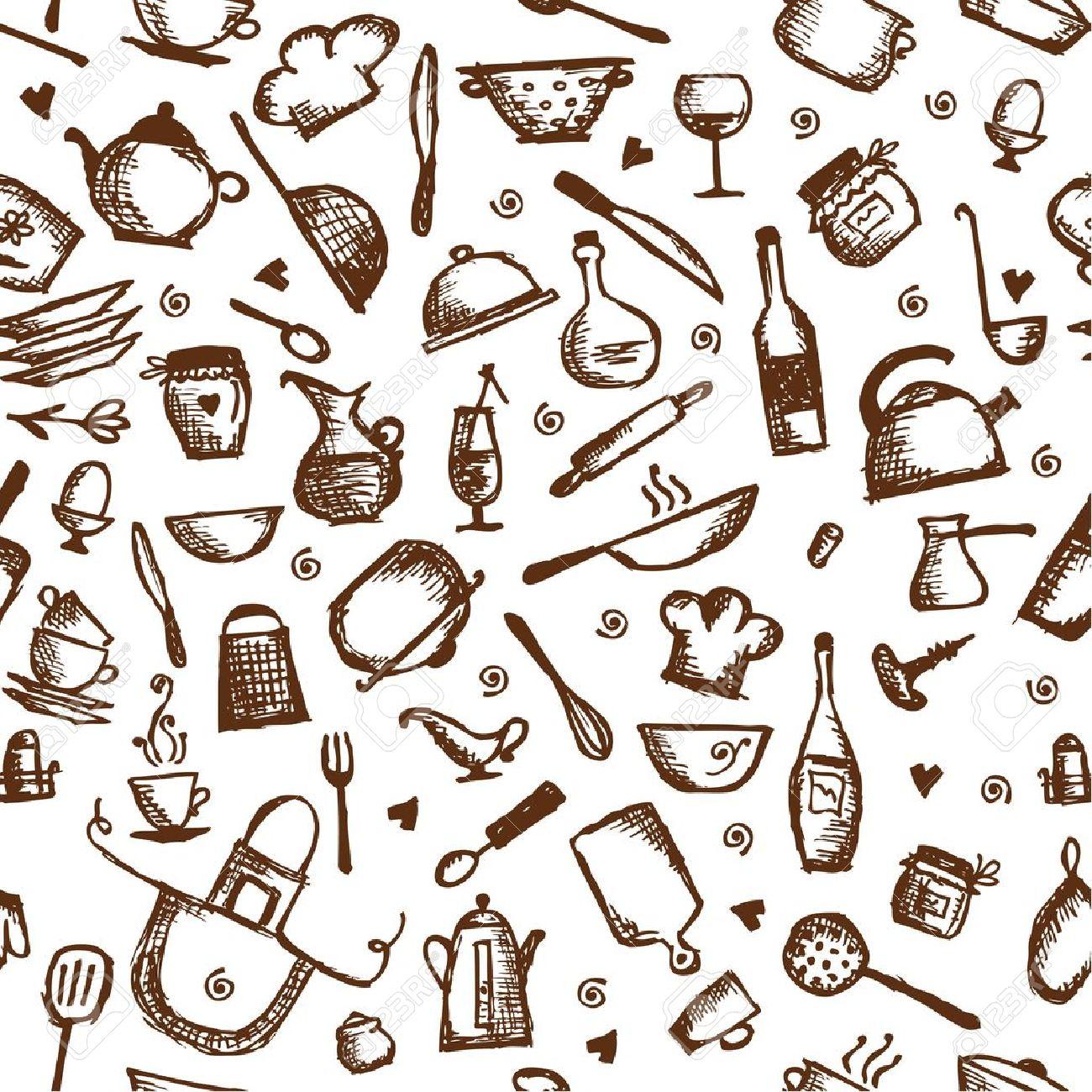Kitchen Utensils Wallpaper kitchen utensils sketch, seamless pattern royalty free cliparts