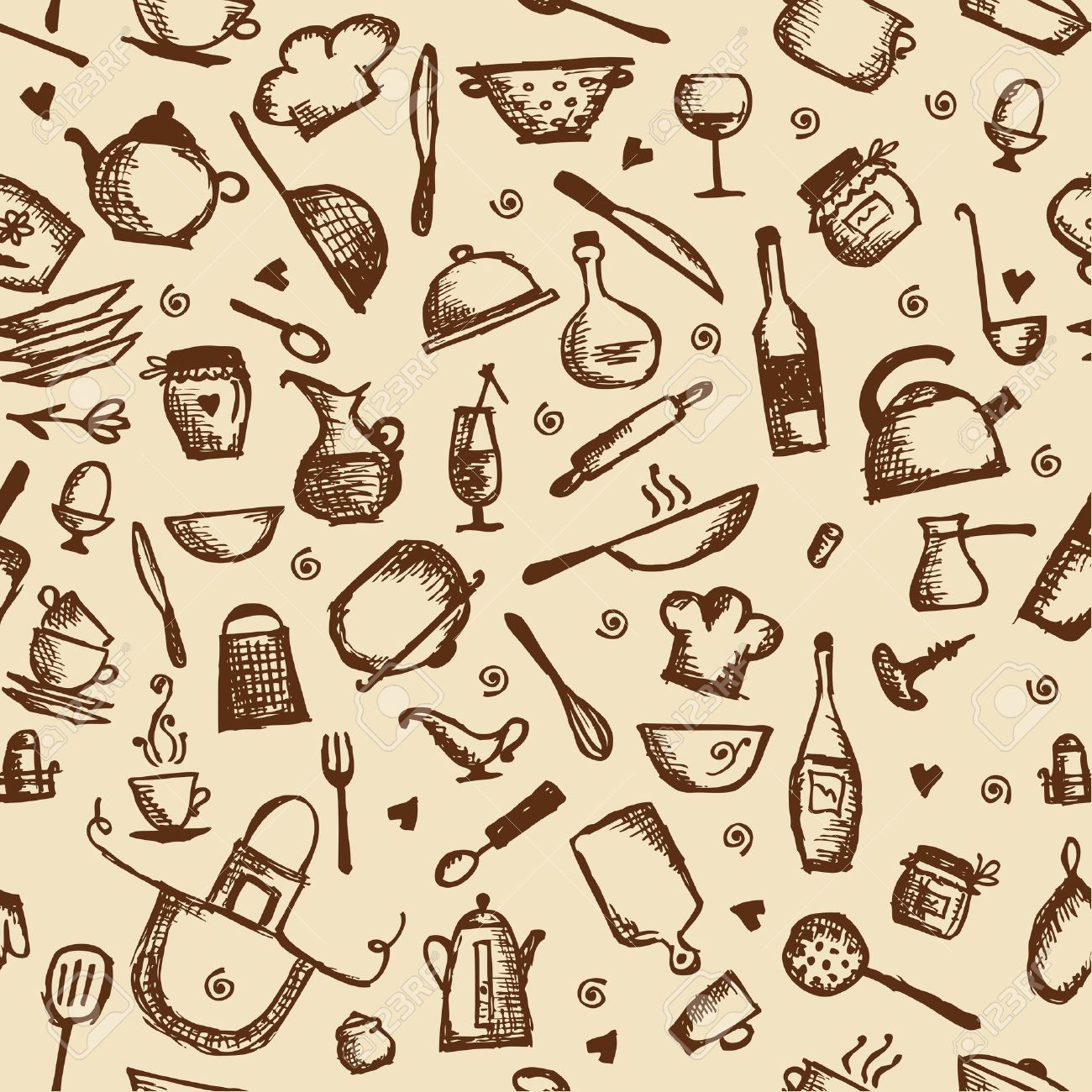 Kitchen utensils sketch, seamless pattern Stock Vector - 14946670