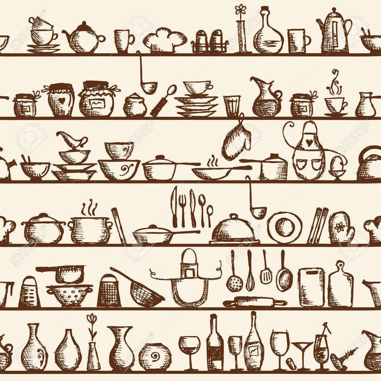 Kitchen Utensils Wallpaper kitchen utensils on shelves, sketch drawing seamless pattern