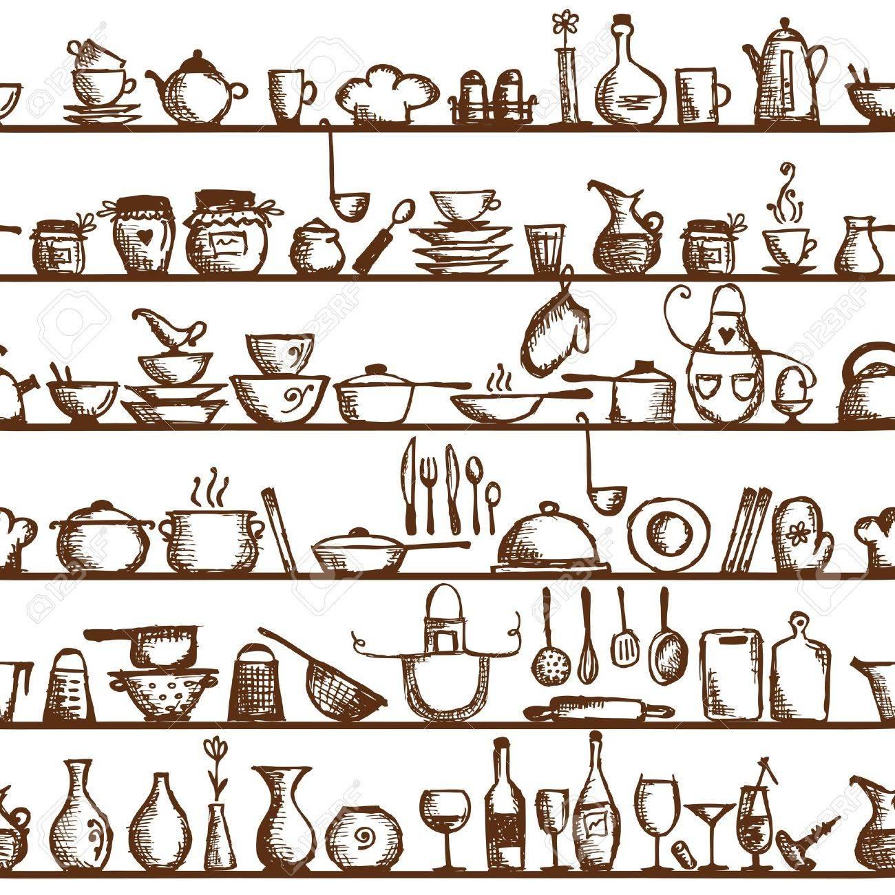 archivio fotografico utensili da cucina sugli scaffali schizzo seamless pattern di disegno