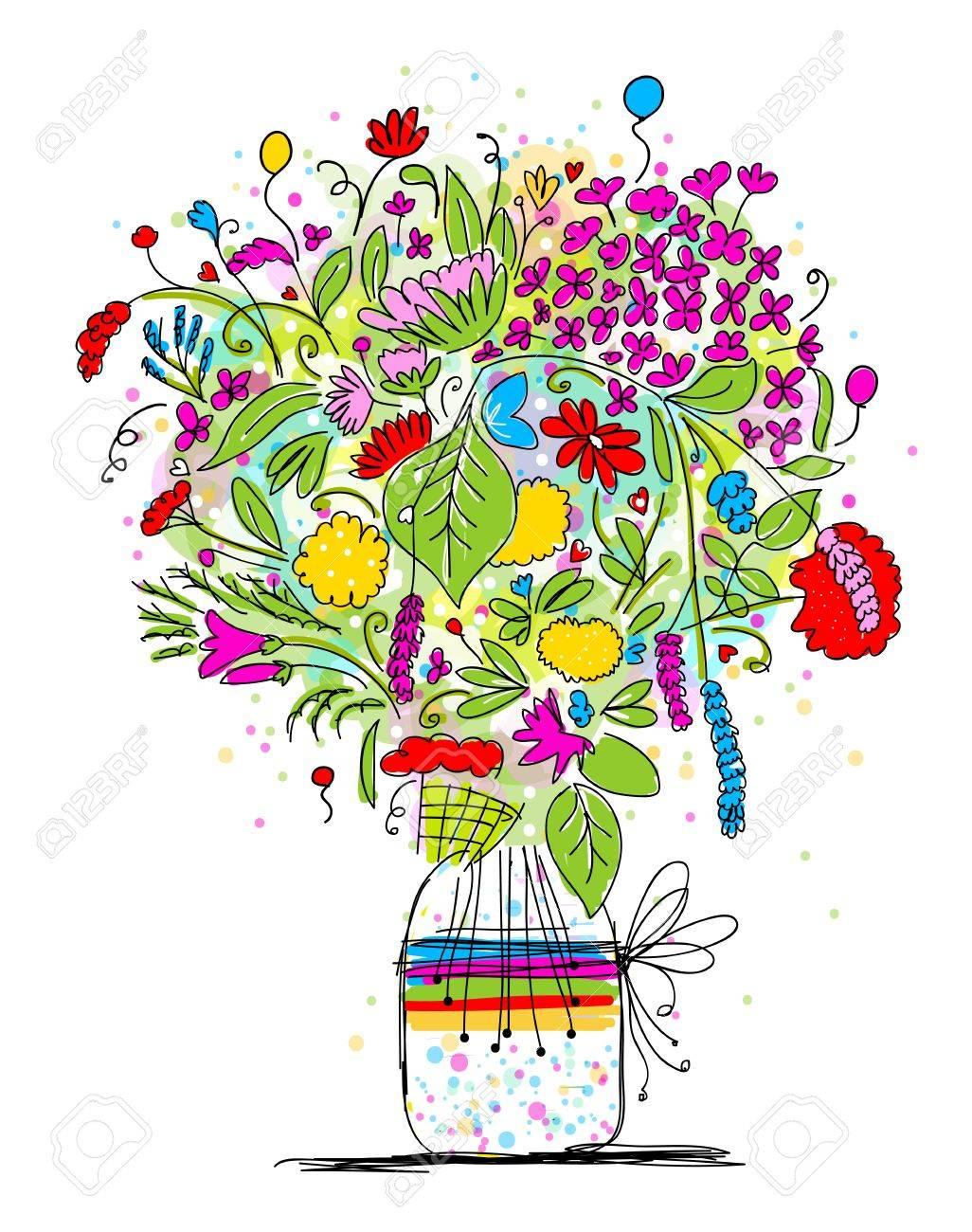 Floral Bouquet Im Glas Skizze Für Ihr Design Lizenzfrei Nutzbare