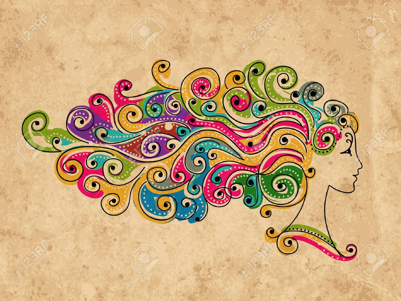 Abstract colorful hairstyle, female head for your design - 15359581