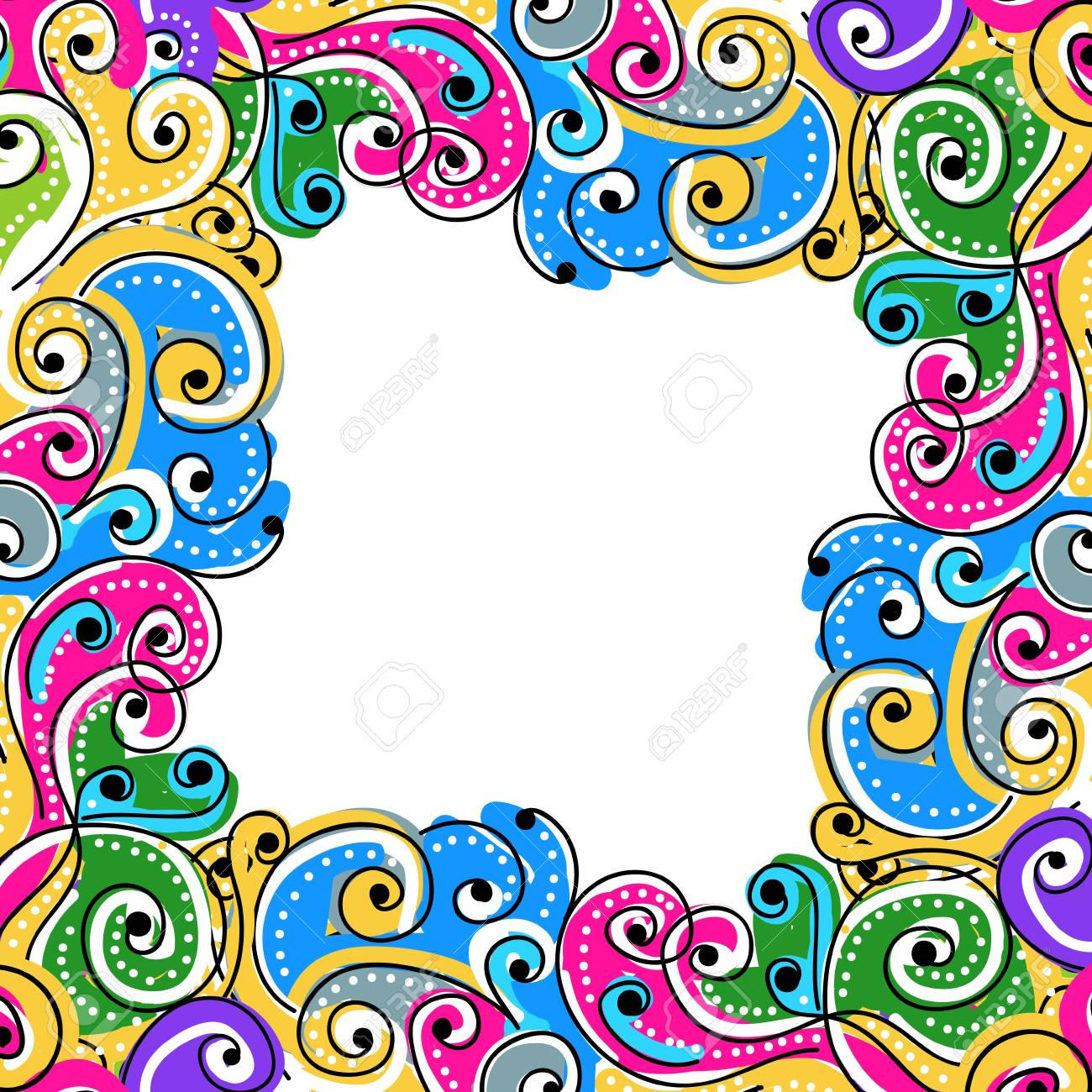 Wave hand drawn frame for your design, abstract background - 15359534