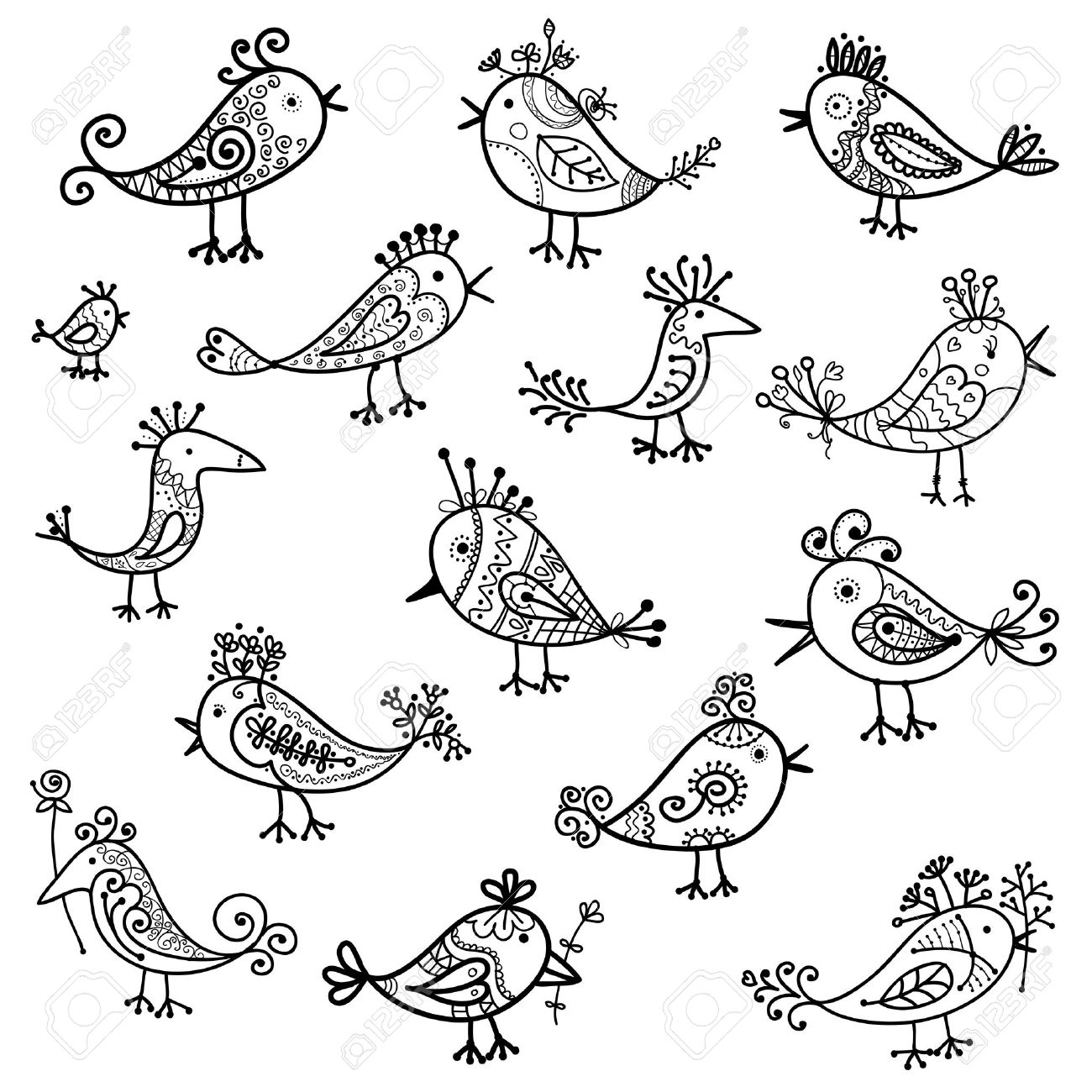 set of funny birds for your design royalty free cliparts vectors