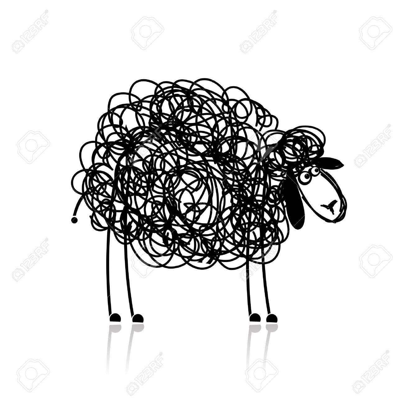 funny black sheep sketch for your design stock vector 15478174