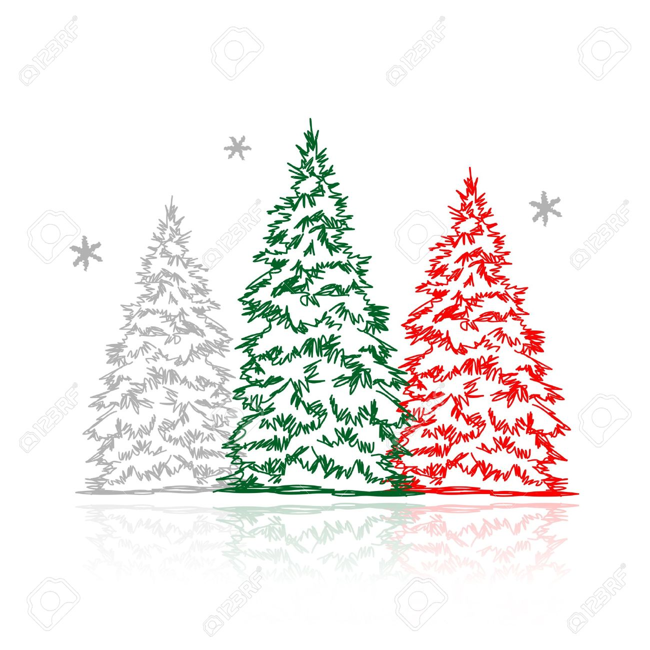 Uncategorized Drawn Christmas Trees hand drawn winter trees for your design royalty free cliparts stock vector 15478202