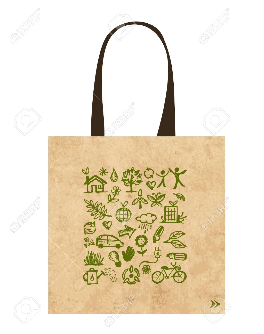 Paper bag vector - Paper Bags With Green Ecological Icons Design Stock Vector 16125644