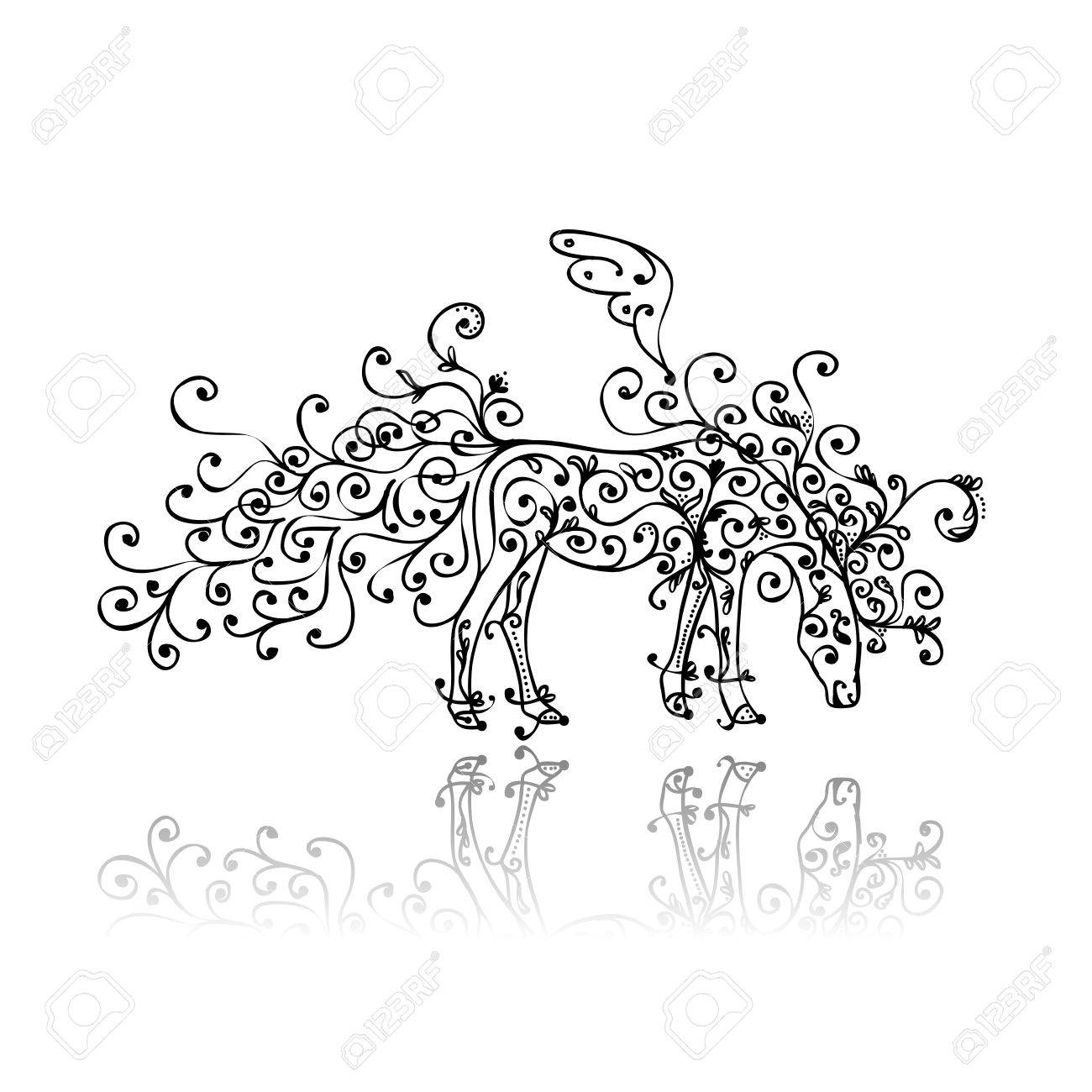 Horse sketch with floral ornament for your design Stock Vector - 16125625