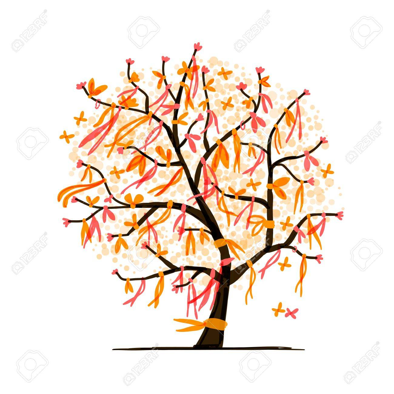 Abstract tree with ribbons for your design Stock Vector - 16125645