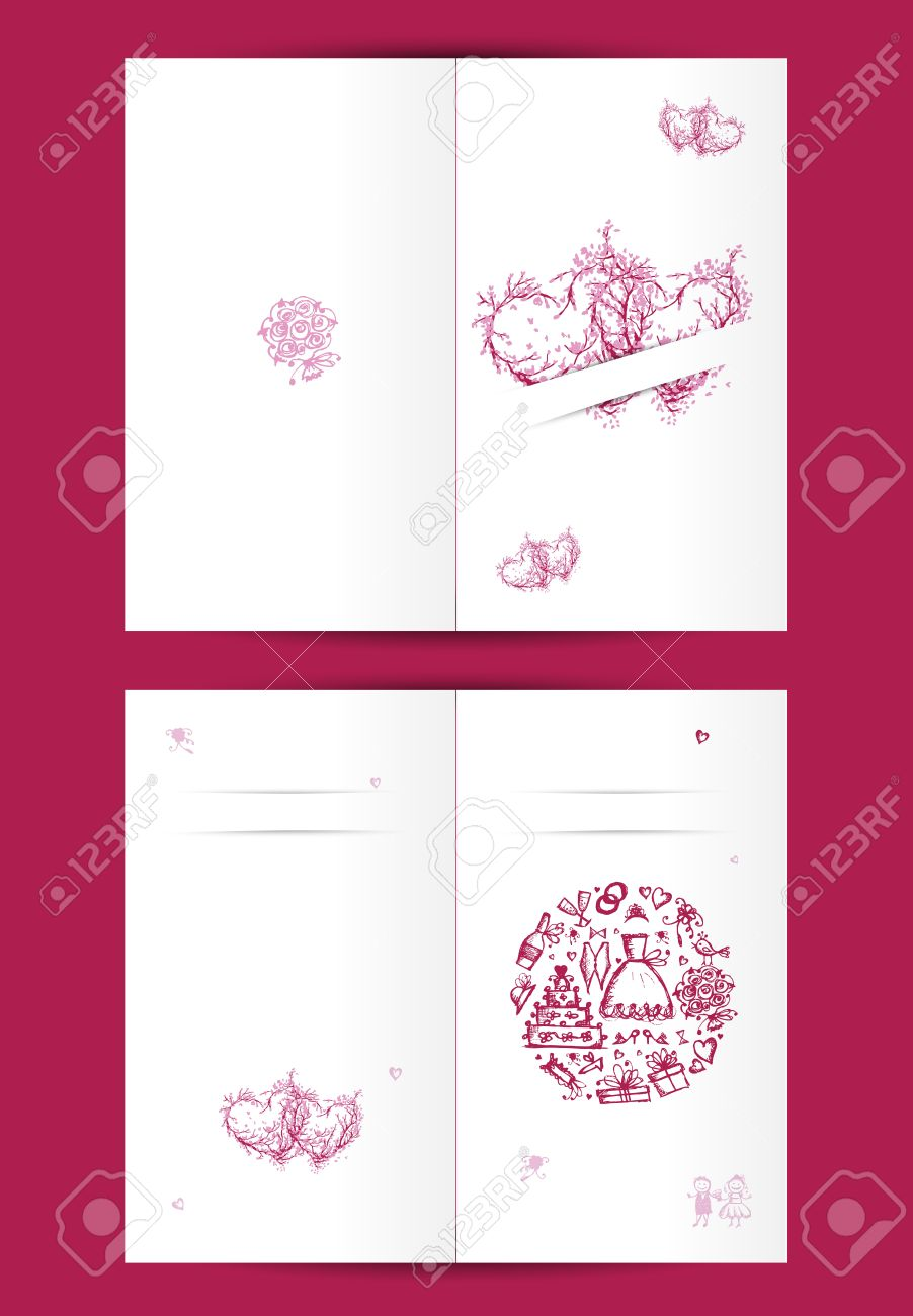 Wedding Card Design With Place For Your Text Cover And Inside