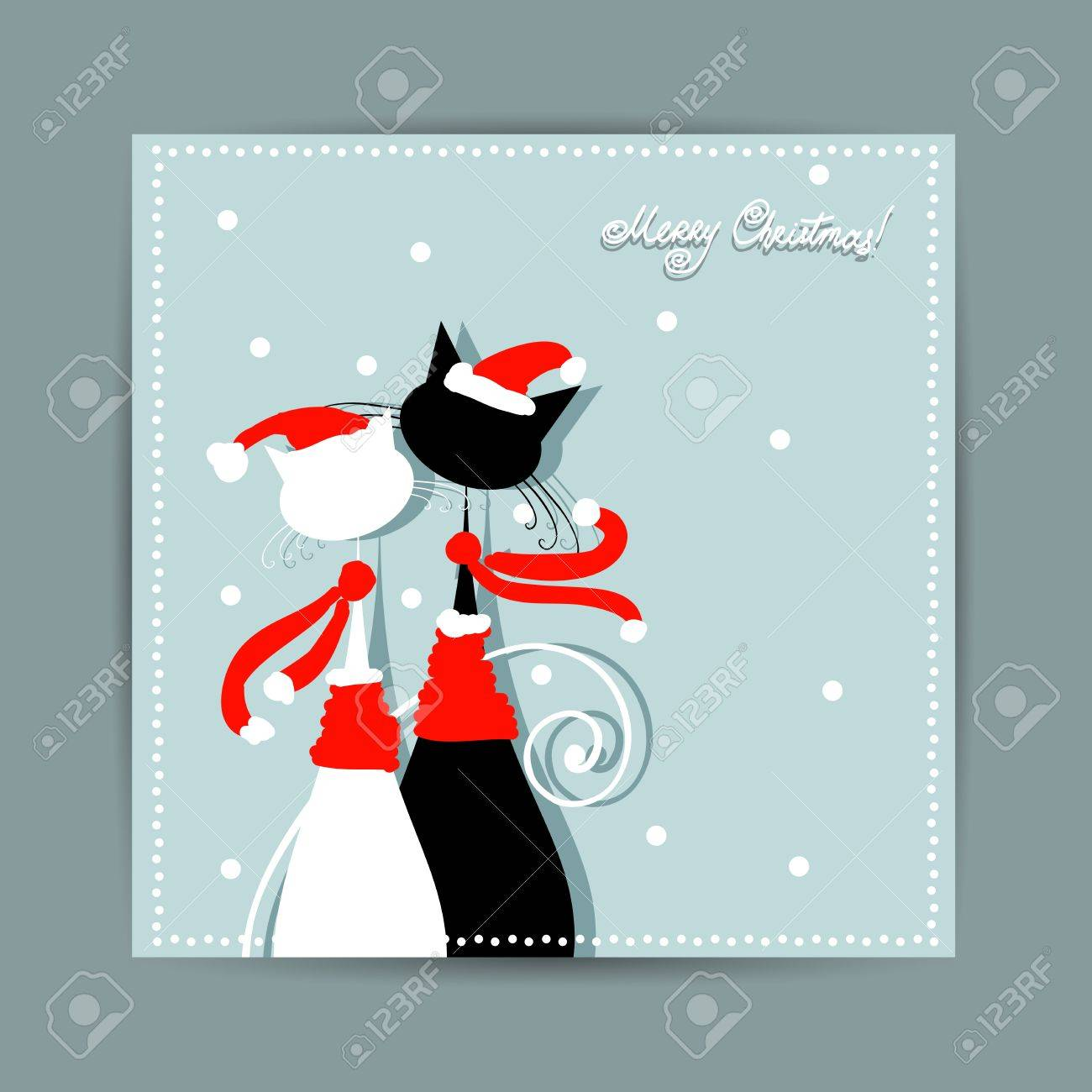Merry Christmas  Postcard design with couple of santa cats Stock Vector - 16683284