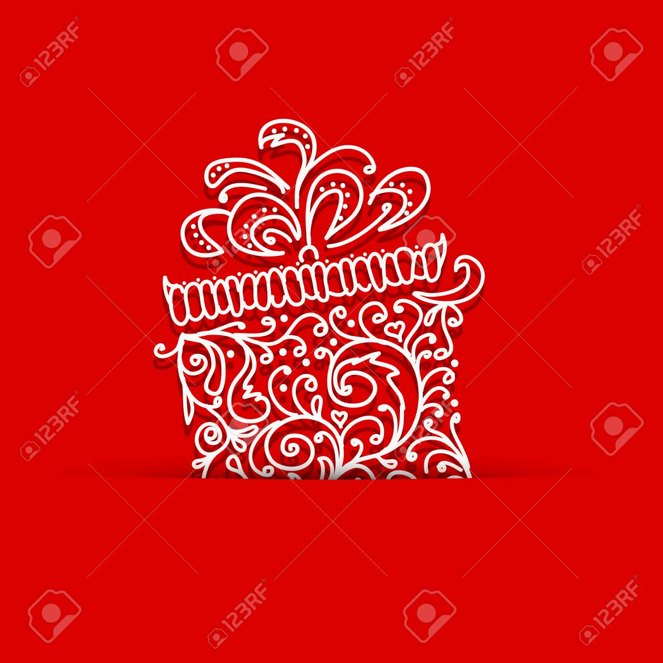 Postcard with gift box stylized for your design Stock Vector - 16683315