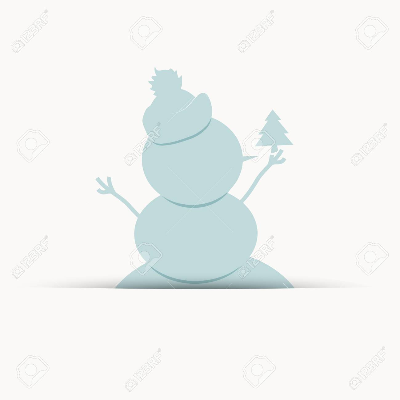 Happy snowman with christmas tree, postcard design Stock Vector - 16683256