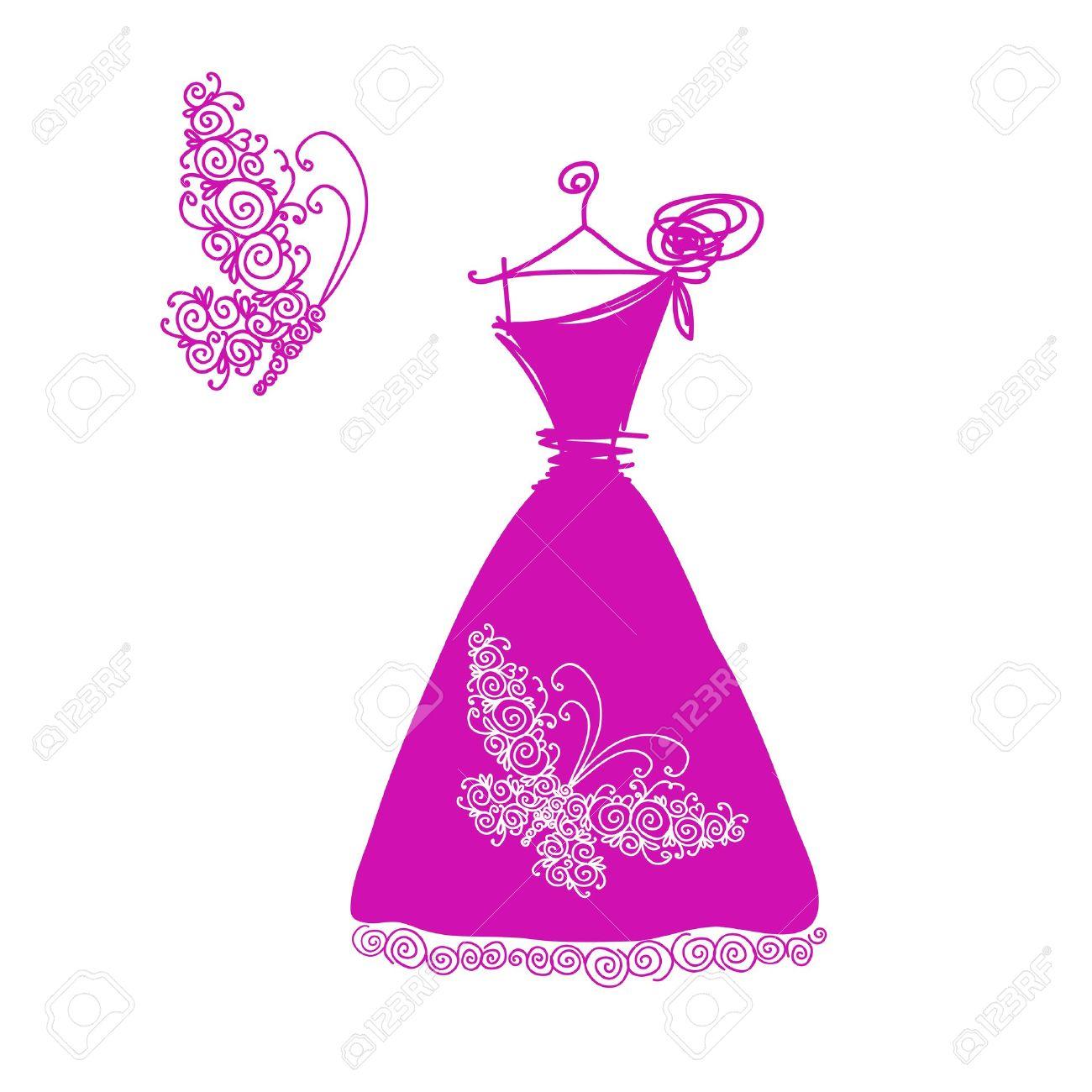 Bosquejo Del Vestido De Coctel Lindo Para Su Diseño Ilustraciones ...