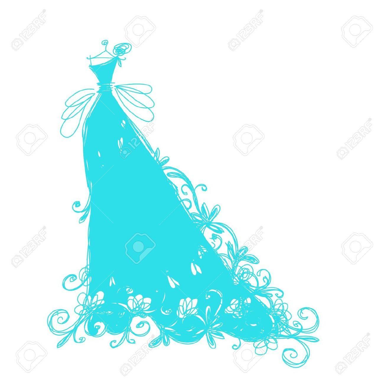 Boceto Del Vestido De Novia Con El Ornamento Floral Para Su Diseño ...