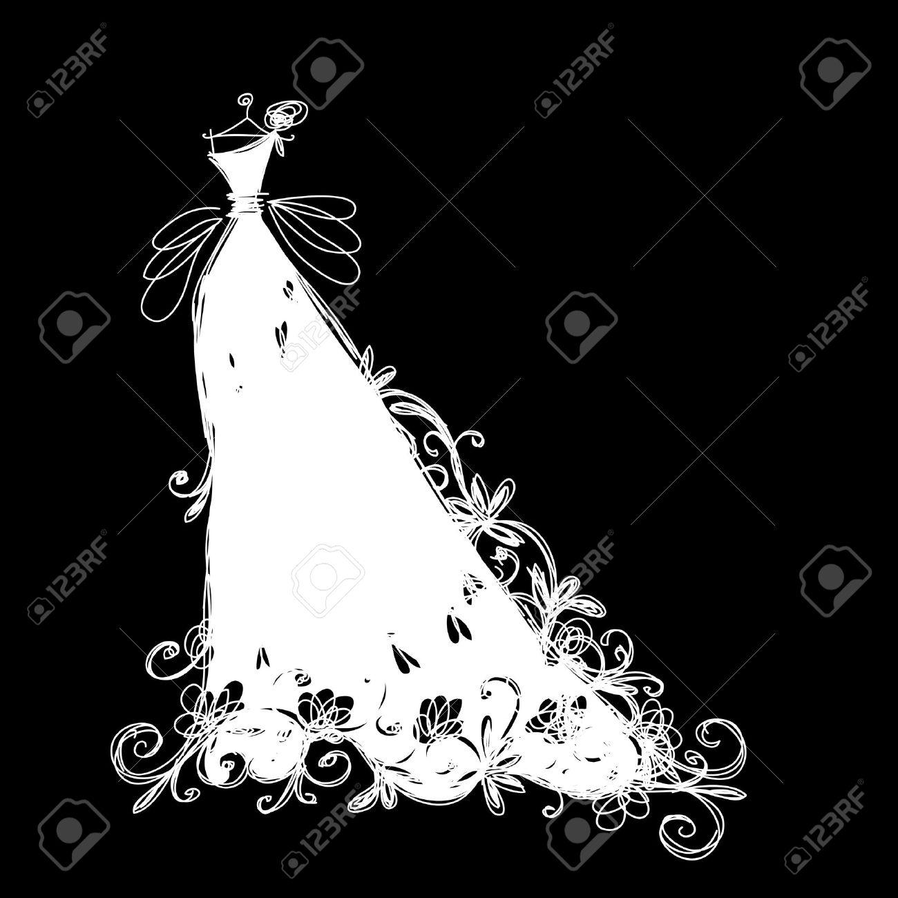 Sketch of wedding dress for your design - 16683283