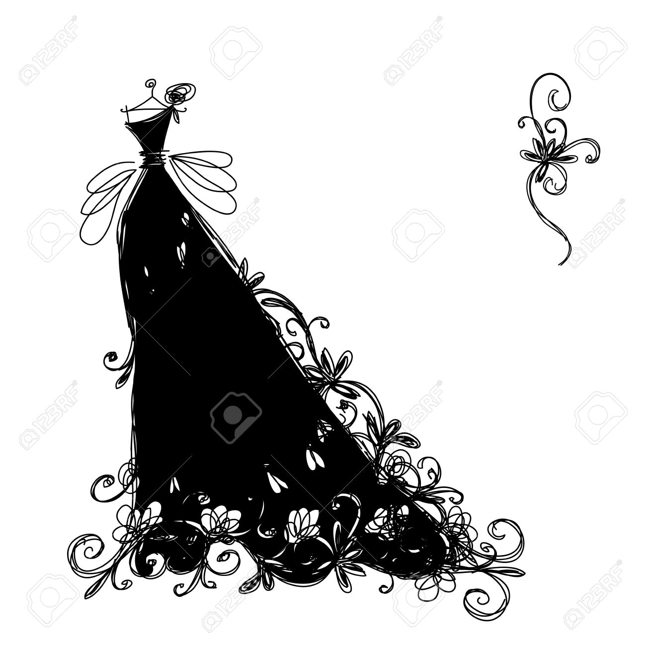 Black dress cartoon - Sketch Of Ornamental Black Dress For Your Design Stock Vector 16683289