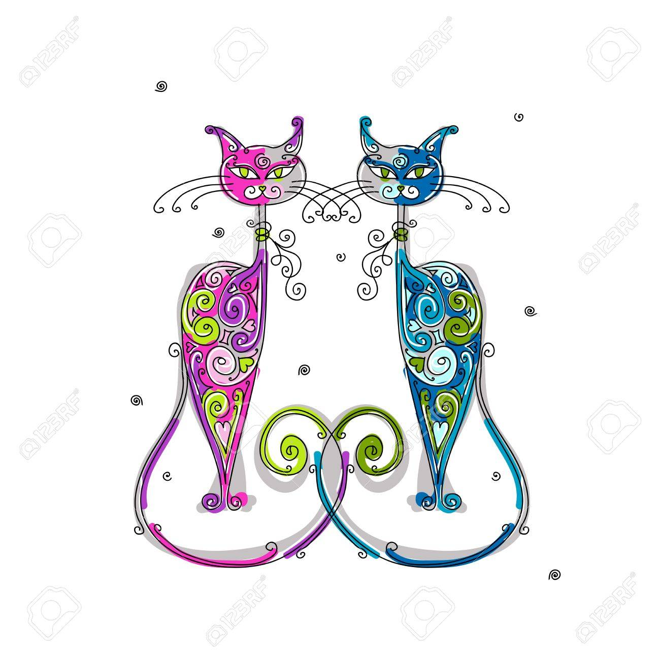 Couple of cats silhouette for your design Stock Vector - 16709574