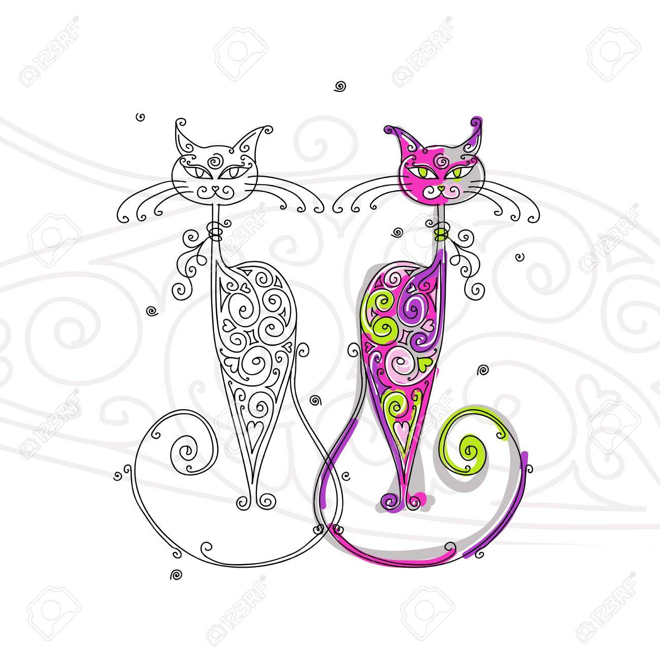 Couple of cats silhouette for your design Stock Vector - 16709583