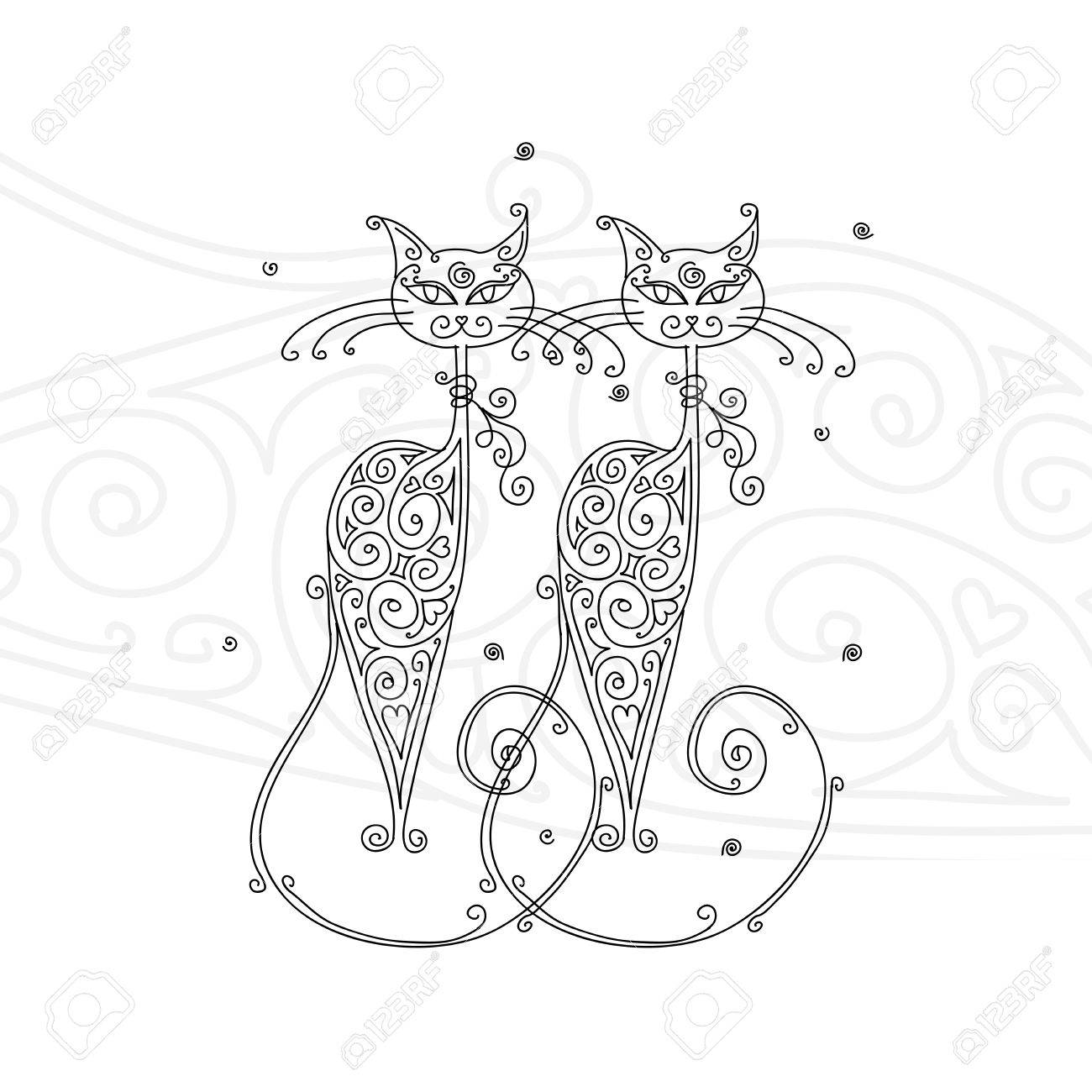 Couple of cats silhouette for your design Stock Vector - 16709581