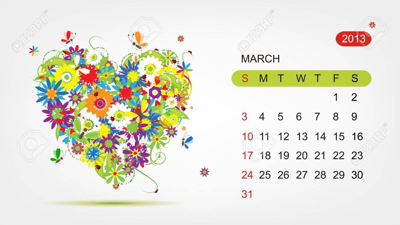 Vector calendar 2013, march  Art heart design Stock Vector - 16798552