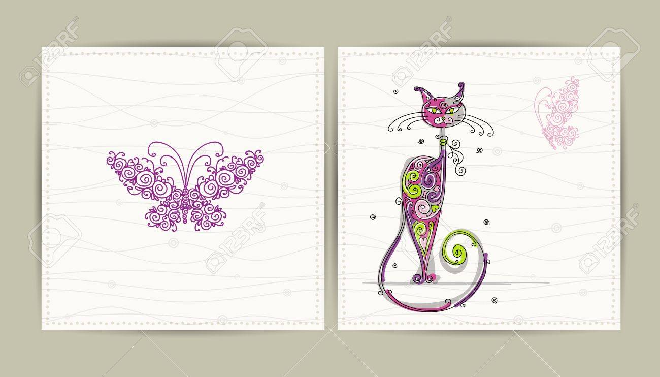 Birthday postcard with cute cat and butterfly for your design Stock Vector - 16798556