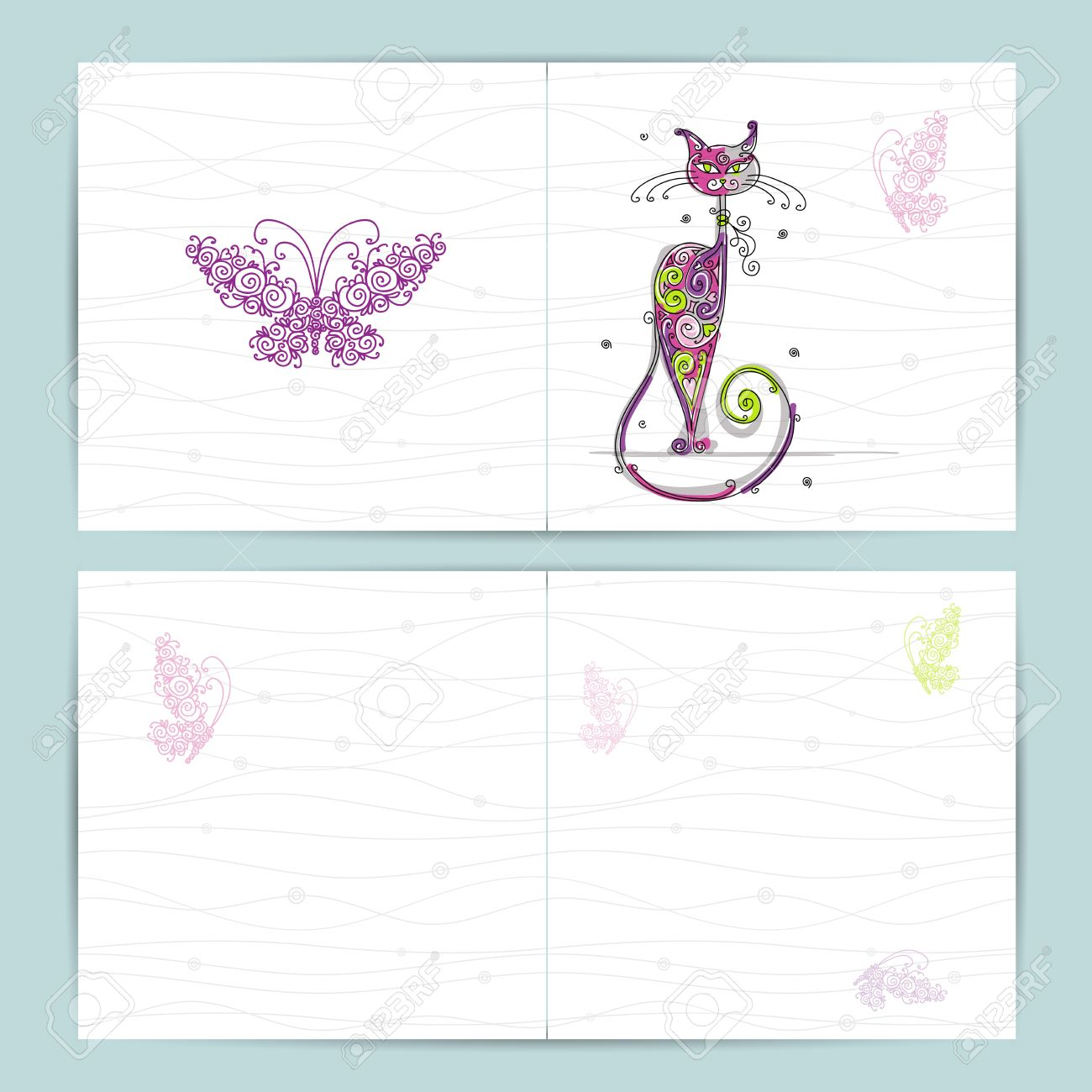 Birthday postcard with cute cat and butterfly for your design Stock Vector - 16798559
