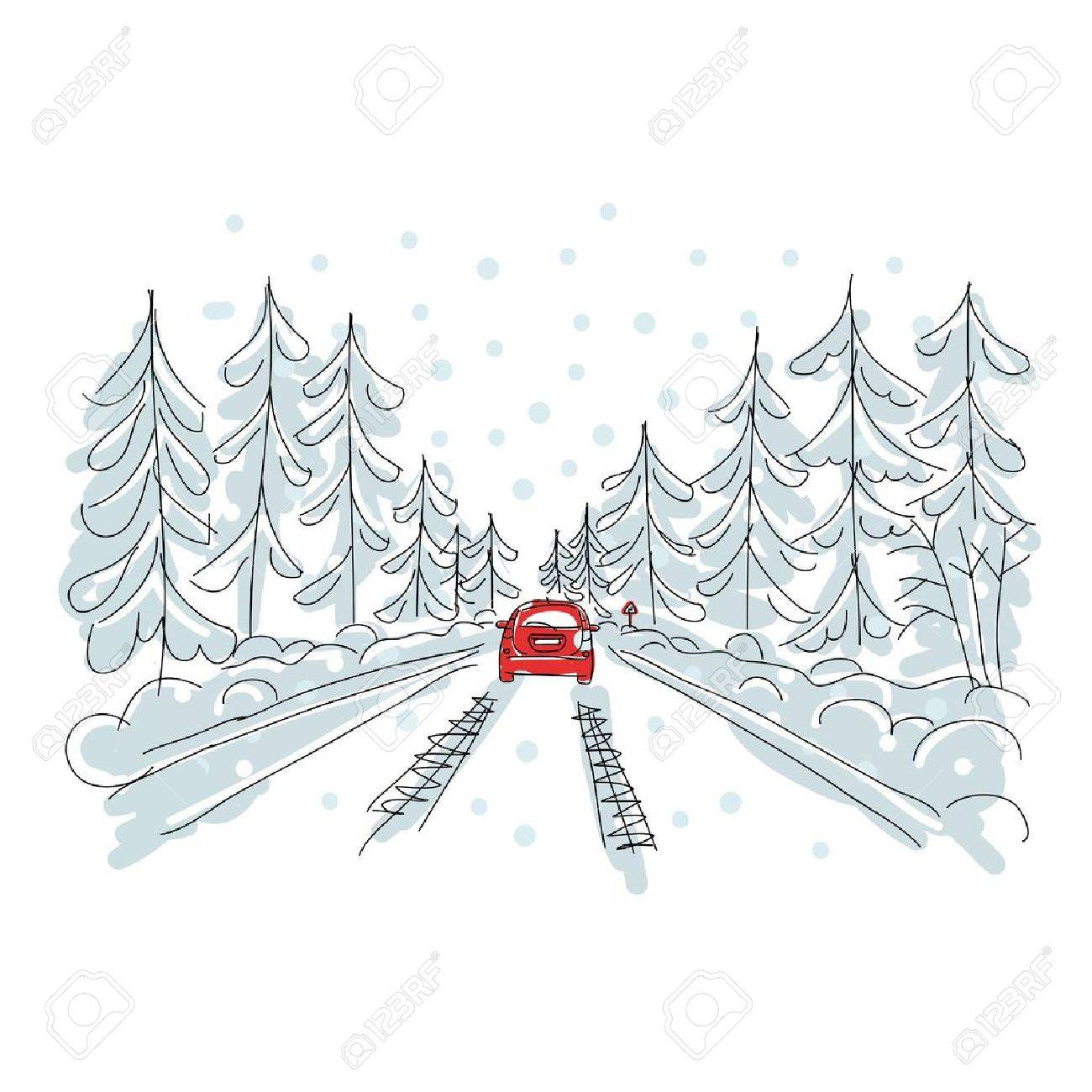 Red car on winter road, sketch for your design Stock Vector - 16798543