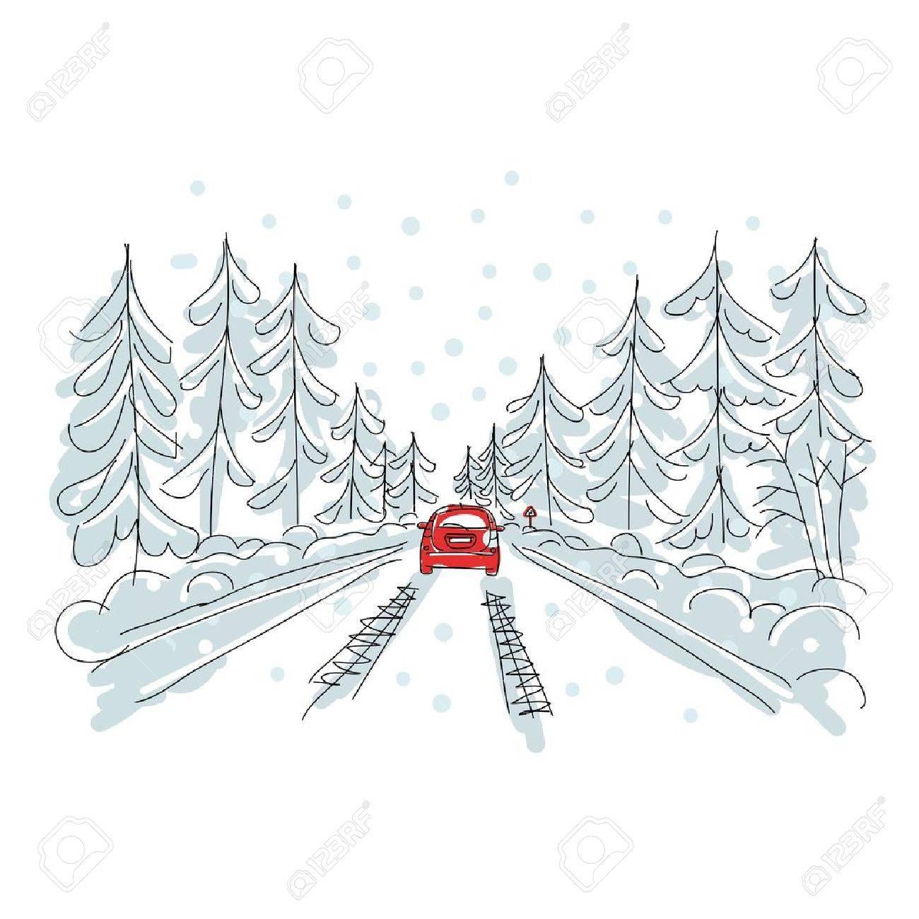 Winter Family On Car Driving Travel Stock-Vektorgrafik (Lizenzfrei)  504361345