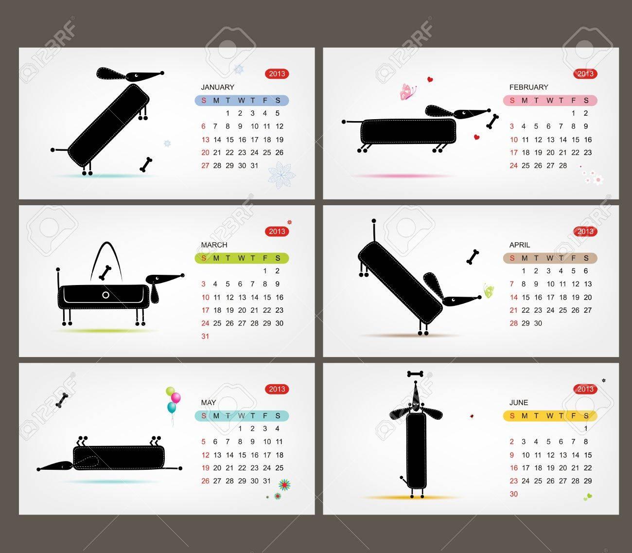 Vector calendar 2013  Funny dogs for each month Stock Vector - 19009331