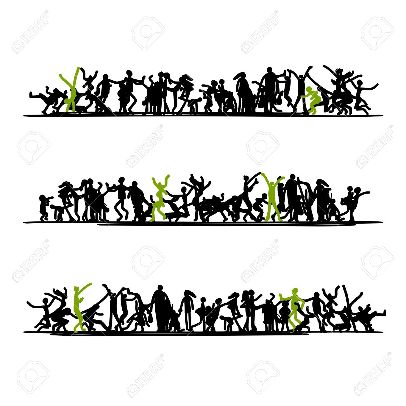 Sketch of people crowd for your design Stock Vector - 19631359