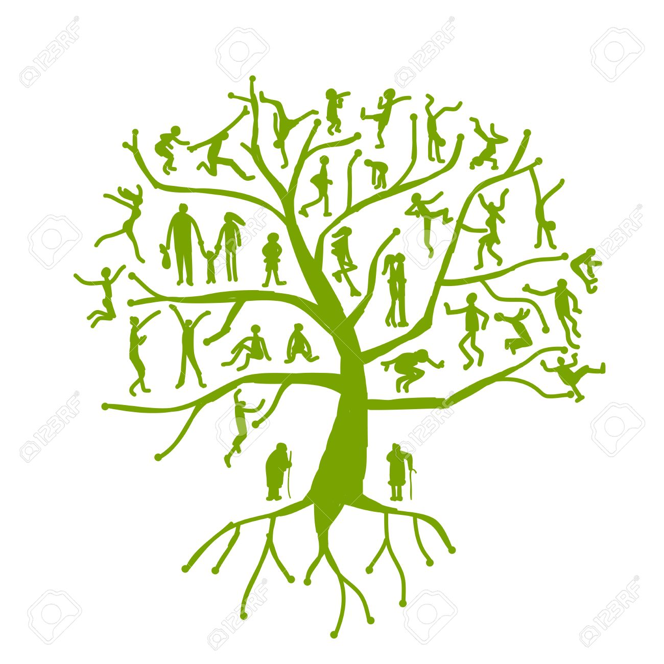 Family tree, relatives, people silhouettes Stock Vector - 19631325