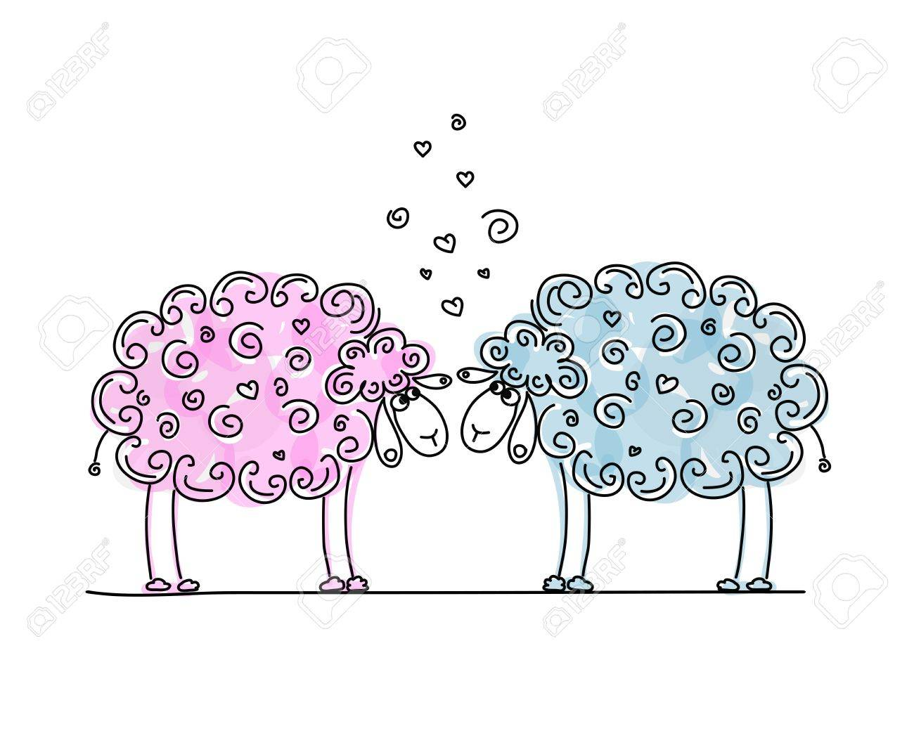 Funny sheeps in love, sketch for your design Stock Vector - 19631366