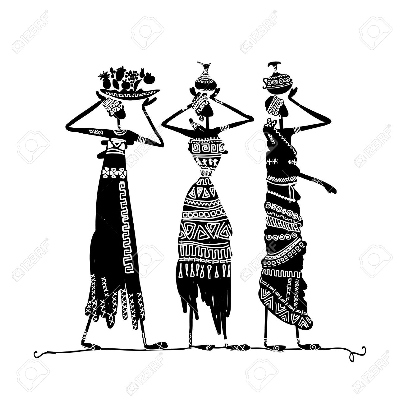 Hand drawn sketch of ethnic women with jugs stock vector 20232881