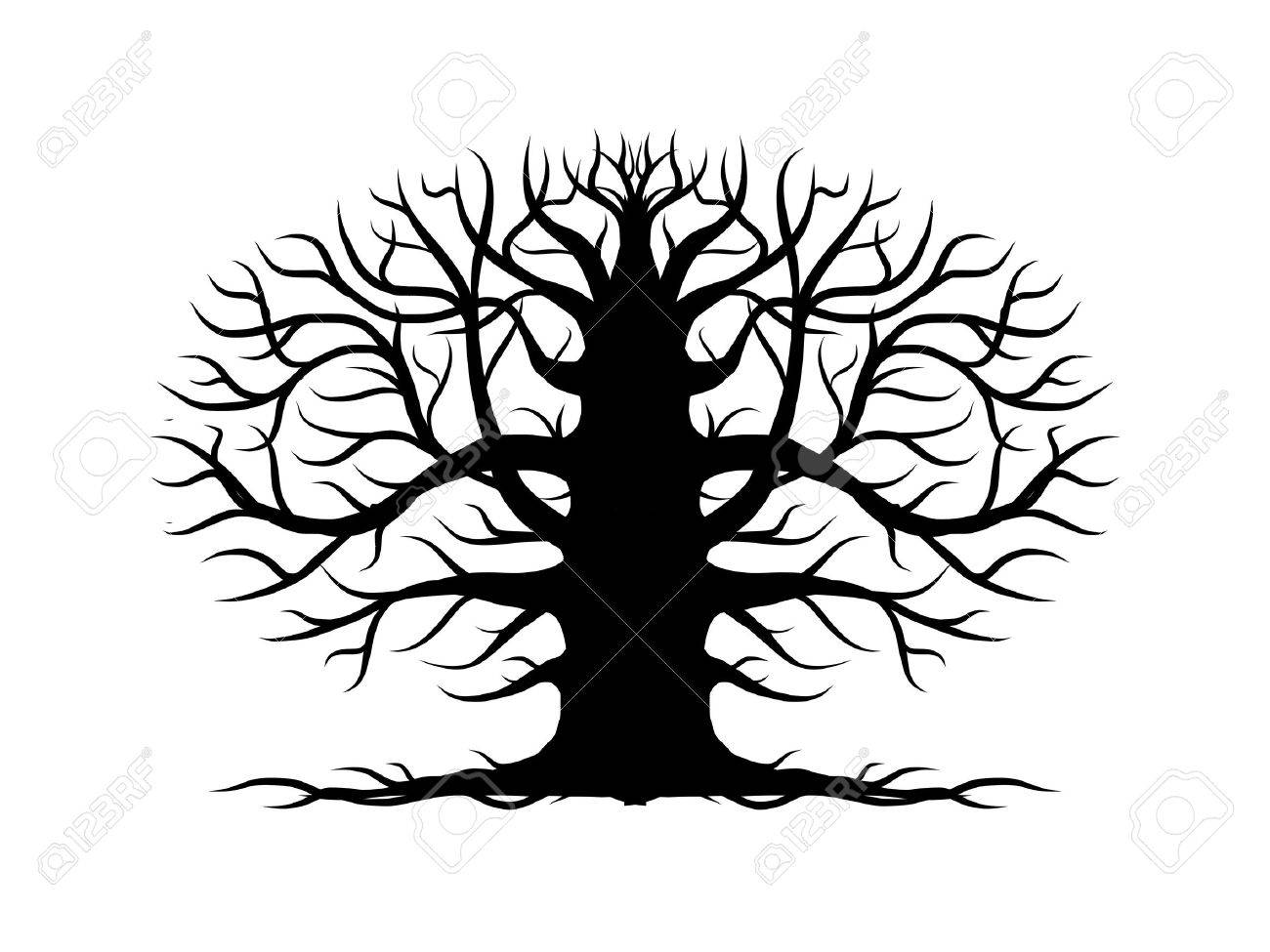 Oak Tree With Roots Sketch Old tree bare  silhouette for