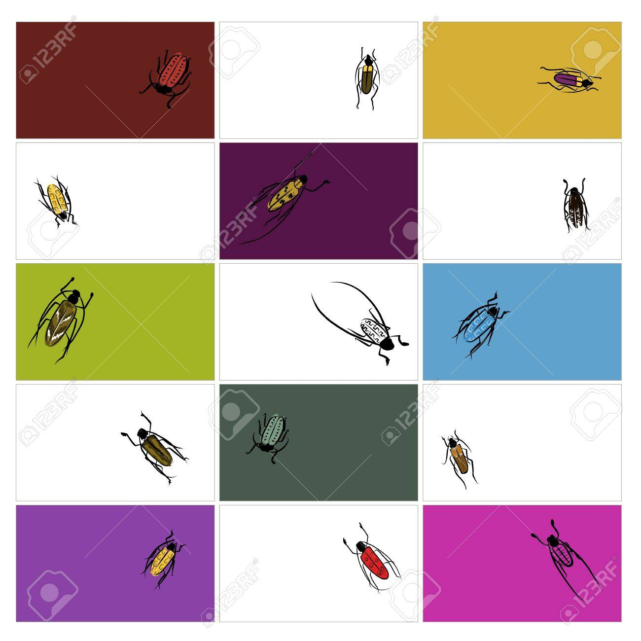 Design cards with beetles sketch Stock Vector - 20498268
