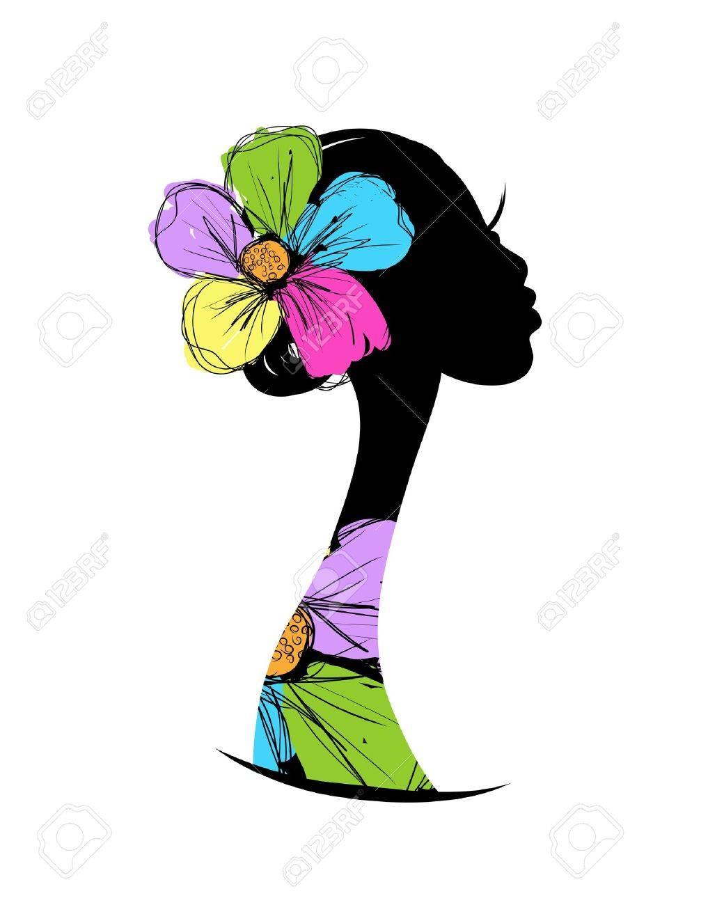 Female head silhouette for your design - 20925979