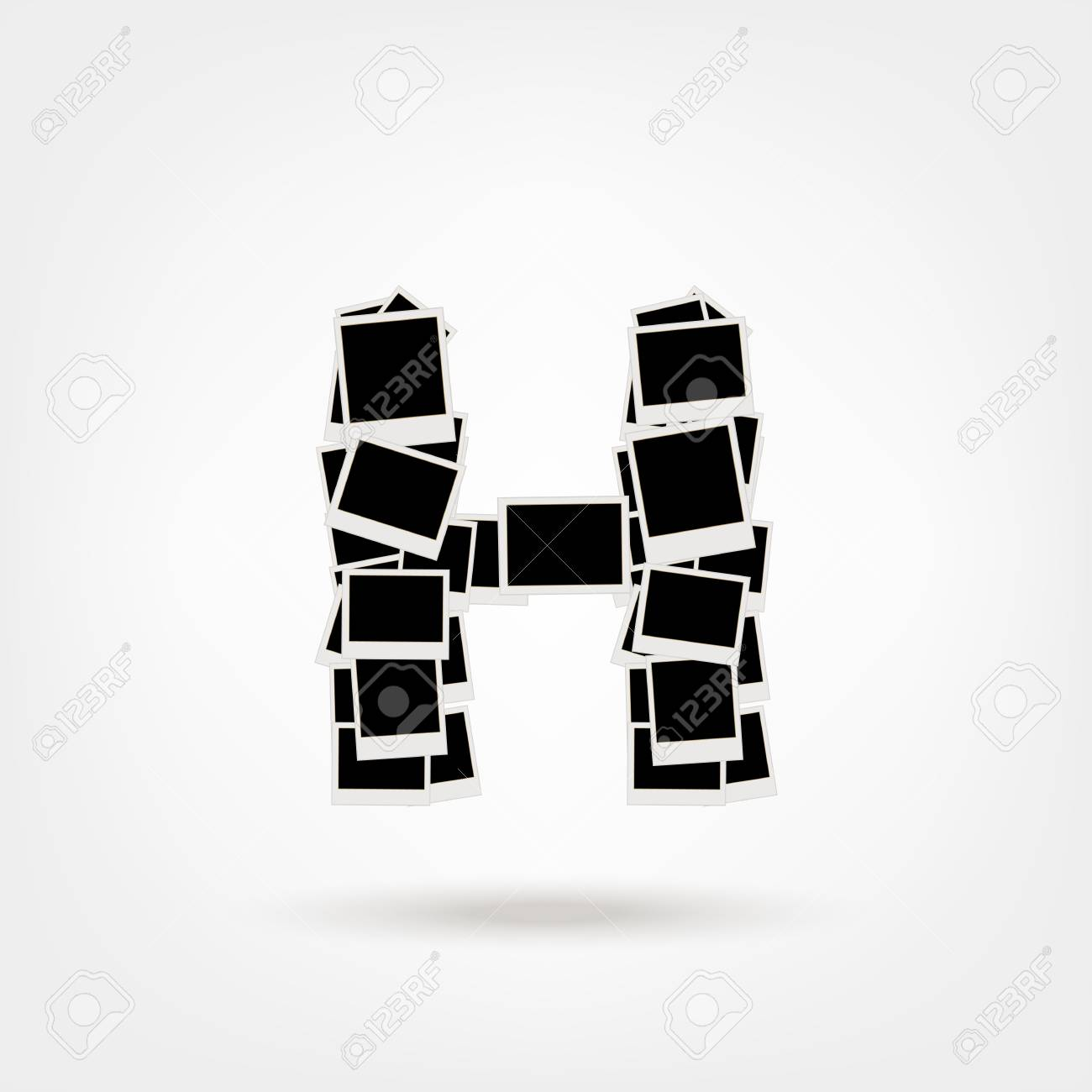 Letter H made from photo frames, insert your photos Stock Vector - 21693889