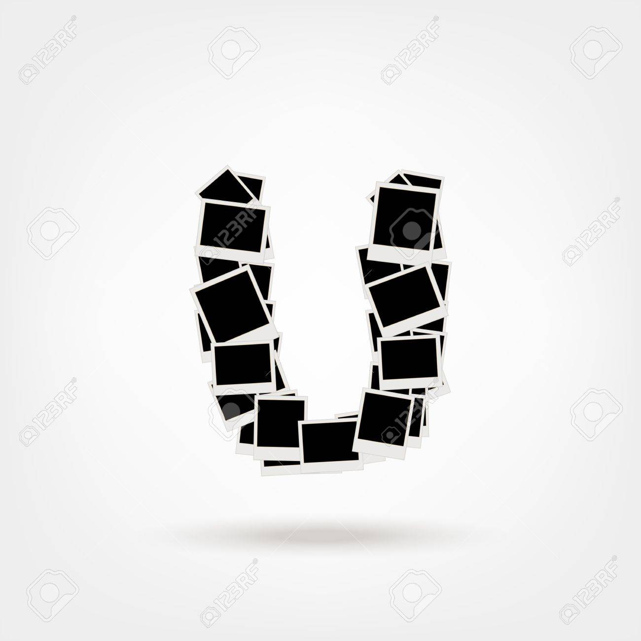 Letter U made from photo frames, insert your photos Stock Vector - 21693912