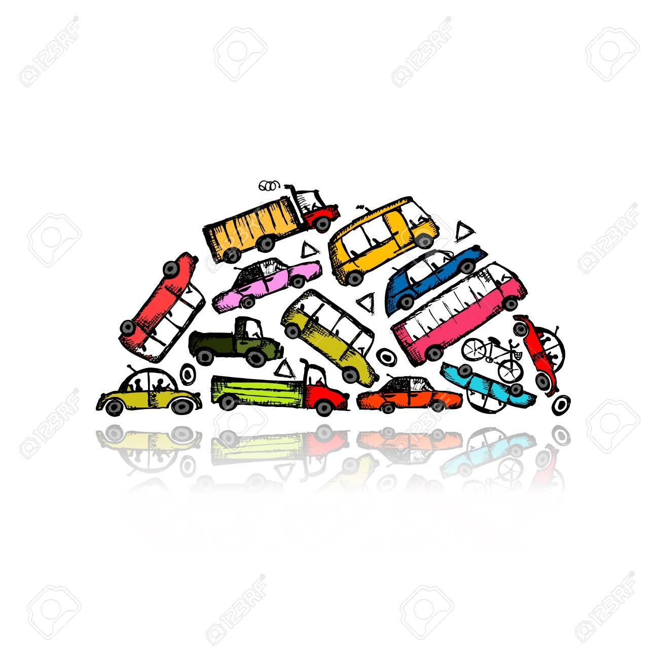 Pile of different cars Stock Vector - 21803133
